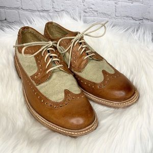 Frye James Leather Canvas Lace Up Wingtip Oxfords